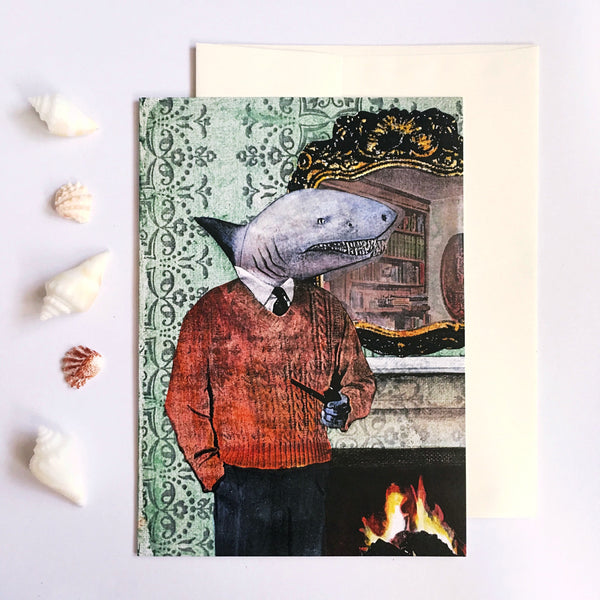 Shark Greeting Card - Illustrated Greeting Card of a Dressed Up Shark wearing Vintage clothes and smoking a pipe