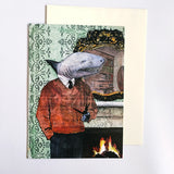 Shark Card and envelope. Anthropomorphic shark illustration with shark wearing clothes