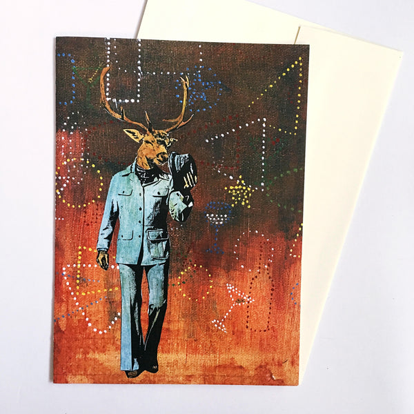 Illustrated Cards for Men - Art Cards - Retro Deer Greeting Card www.pergamopapergoods.com