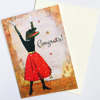Congratulations greeting card, illustrated alligator card.