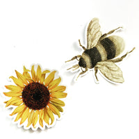 Bee Vinyl Sticker with Sunflower Sticker