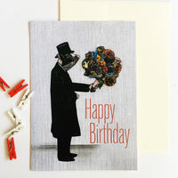 Dressed Up Pig Holding Flowers Greeting Card, Text reads Happy Birthday