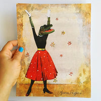"Alligator Art Print - 8x10"" Feminist Art - Mixed Media Animal Art by Pergamo Paper Goods"