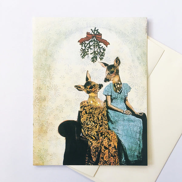 Lesbian greeting card, lesbian art, lesbian holiday card, deer holiday card, mistletoe card, holiday card for lesbians