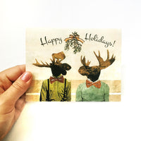 Gay holiday card, Moose holiday card, Illustrated animal holiday card, dressed up animals