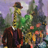 Giraffe wearing a suit and hat, animal collage, whimsical art for the home