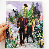 8x10 art print, giraffe father and son, dressed up dapper animals in a garden, fun animal art, whimsical animal art