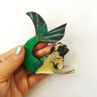 Mermaid Pug Magnet, High Quality Dog Refrigerator Magnets Fridge Mermaid Decor, Fantasy Pug Gifts, Laser Cut Wood, Illustrated Pug Wholesale