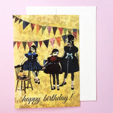 Dressed up animals at a party greeting card, yellow card, pink background