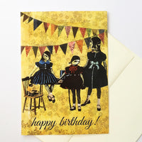 Three ducks at a party, vintage look, greeting card with envelope