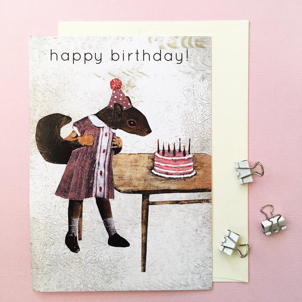 Squirrel Birthday Card, Squirrel blowing out birthday cake -Vintage Inspired Mixed Media Art - Squirrel Happy Birthday Card by Pergamo Paper Goods