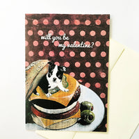 Greeting card with mixed media illustration of a boston terrier