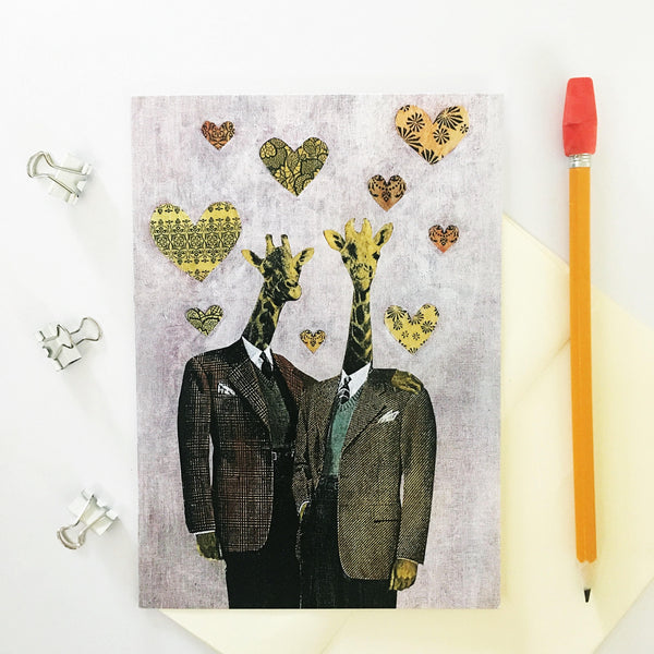 Gay giraffe greeting card. Gay card. Two giraffes in love. Dressed up giraffes. Gay marriage card, gay love card.