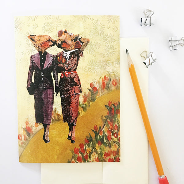 lesbian card, card for lesbian couple, lesbian wedding card, fox illustration, fox ladies