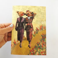 Love card for lesbians, Animal lovers card, fox card, indie artist card, independent artist cards
