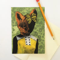 Vintage greeting card, cards for animal lovers, vintage fox card, dressed up fox with bow, green and yellow illustrated card