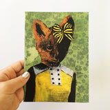 Hand holding retro greeting card, Retro animal greeting card,
