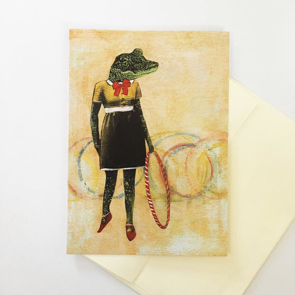 Retro Alligator  Hula Hoop Greeting Card