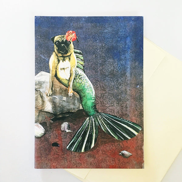 Mermaid Pug Card