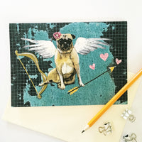 Pug Valentine, Love Pug, Illustrated pug card, Pug Art, Pug Illustration, Pug Cupid, Pug with Angel Wings