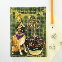 Greeting card and pencil, Pug Happy Birthday Card with a Large Cupcake