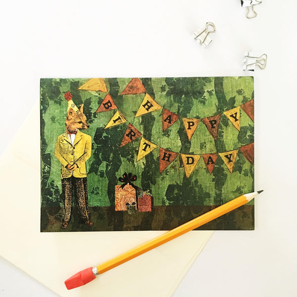 Greeting card of a dressed up fox, pennant reads Happy Birthday