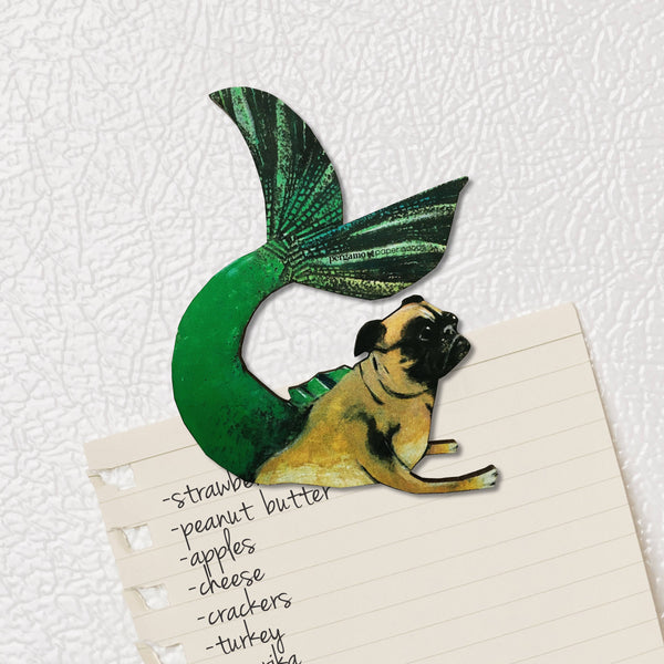 Unique Handmade Gifts for Pug Lovers - Illustrated Mermaid Pug Magnet www.pergamopapergoods.com