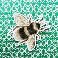 Bee Vinyl Sticker with Patterned Background