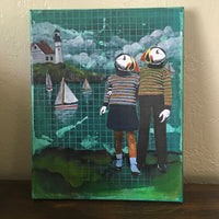 "Puffin Painting | Original Children's Room Art Mixed Media Painting | Collage on Canvas | 8x10"" Handmade Quirky Unique Wall Art"