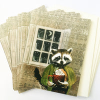 Raccoon card set, raccoon stationery, animal stationery, mixed media animal art, animal cards, dressed up animals, cards for animal lovers