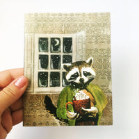 Raccoon holiday card, raccoon card, animal holiday cards, vintage holiday cards, handmade holiday cards, illustrated cards