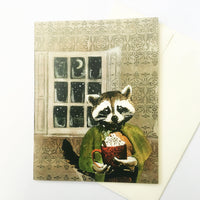 Hot cocoa drinking raccoon illustrated card, holiday cards for animal lovers, raccoon holiday cards