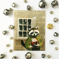 Raccoon Holiday Card or Card Set