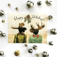 Gay Christmas Card, Moose Christmas Card, Illustrated Christmas Card