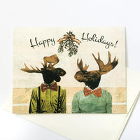 Moose Holiday Cards, Moose cards, Gay moose cards, Gay cards, gay art, mixed media art, dressed up moose