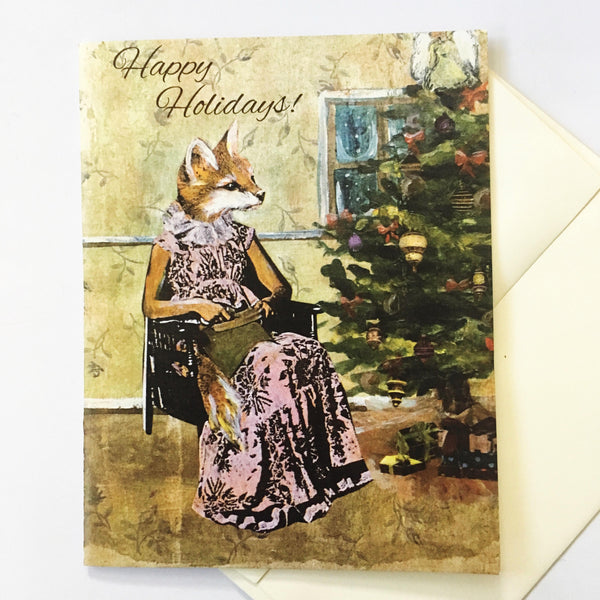 Illustrated Christmas Card of a dressed up fox next to a Christmas tree, fox illustration, holiday cards for animal lovers, animal holiday cards