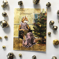 Indie greeting cards, indie holiday cards, fox holiday card, illustrated fox Christmas card