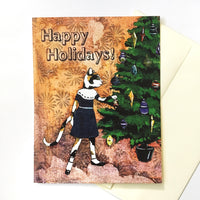 Cat Christmas Card with Envelope. Mixed Media Illustration of a Cat and Christmas Tree.