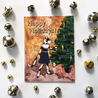 Cat Christmas Card surrounded by bells