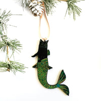 Black Cat Mermaid Christmas Ornament with Tree Branches
