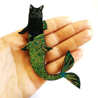 Handmade Gifts for Cat Lovers - Black Cat Mermaid Wooden Magnet www.pergamopapergoods.com