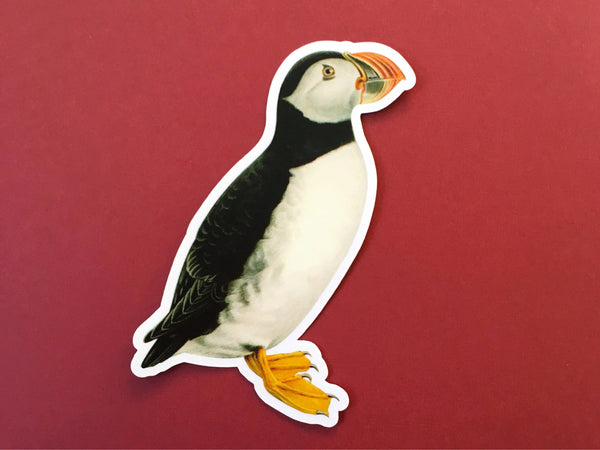 Antique Puffin Vinyl Sticker