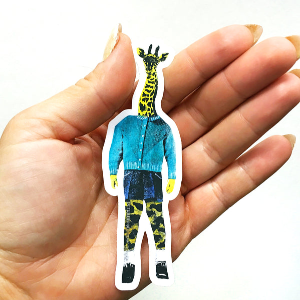 Retro Giraffe Sticker - Vinyl Stickers for Animal Lovers www.pergamopapergoods.com