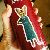 Fox sticker on water bottle. Dressed up fox sticker, fox vinyl sticker, fox laptop sticker Sassy fox laptop sticker, retro dressed up fox sticker, handmade vinyl sticker, fox vinyl sticker www.pergamopapergoods.com