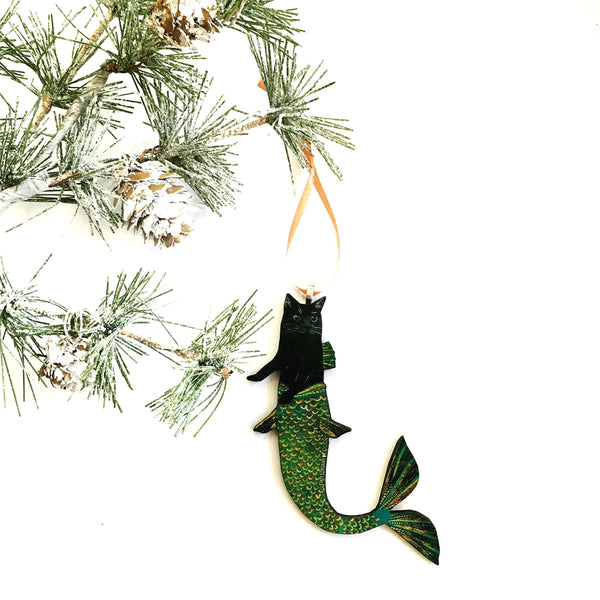 Mermaid Cat Ornament Hanging from Christmas Tree Branch