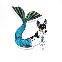 Mermaid Dog Vinyl Sticker - Rat Terrier
