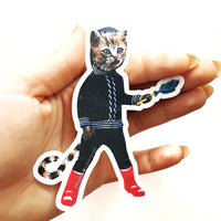 Retro Kitten Sticker - Vinyl Stickers for Cat Lovers + Vintage Lovers www.pergamopapergoods.com