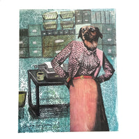 Signed Art Print, Mixed Media Dressed Up Dog in an Office Wearing Pink by Pergamo Paper Goods