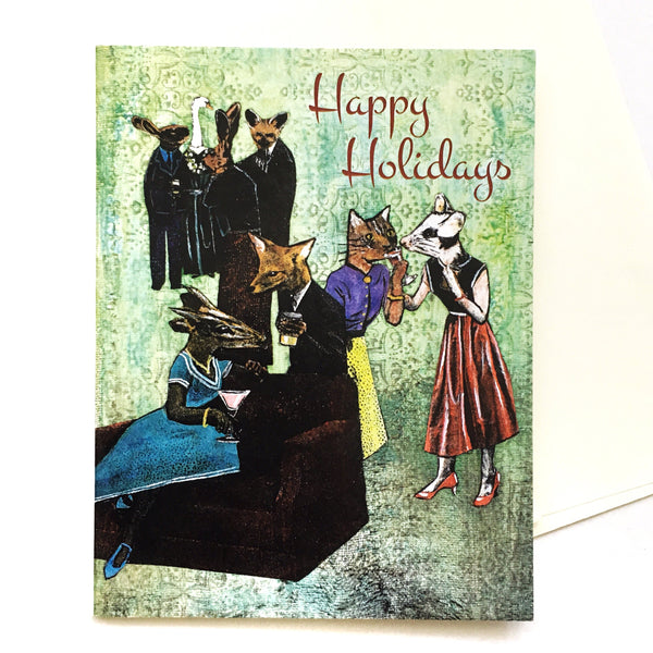 Holiday Party Card or Card Set, Weird Christmas Animals, Vintage Christmas Weird Holiday Stationery Set, Fancy Rescue Animal Wholesale Cards