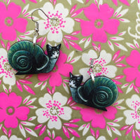 Weird Cat Earrings, Snail Jewelry, Kitschy Cat Lover Gifts, Funny Jewelry, Kitsch Cat Mom Gift, Illustrated Laser Cut Wood, Clip Ons Cats